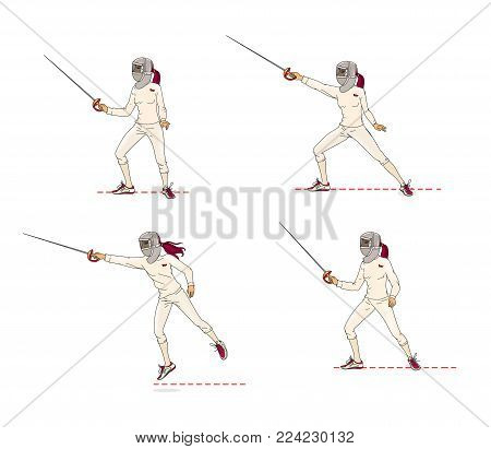 A young woman in a mask for a rapier performs the basic elements of a battle with a rapier. Learning to fight. Training. Isolated on white background