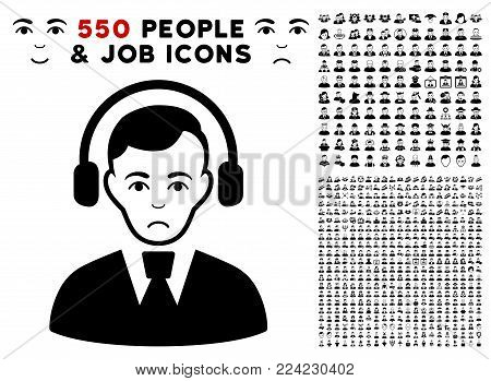 Dolor Radio Operator icon with 550 bonus sad and glad person icons. Vector illustration style is flat black iconic symbols.