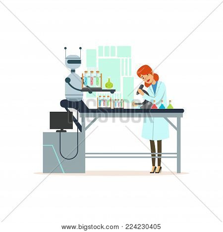 Female scientist and robotic arm conducting experiments in a modern laboratory, robotic arm working with test tubes, artificial intelligence concept vector illustration isolated on a white background