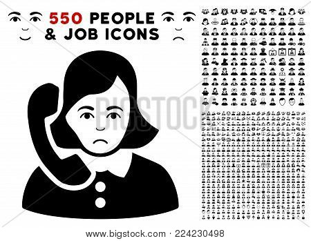 Pitiful Receptionist icon with 550 bonus pitiful and glad people graphic icons. Vector illustration style is flat black iconic symbols.