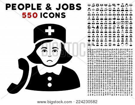 Dolor Receptionist Nurse pictograph with 550 bonus pity and happy men graphic icons. Vector illustration style is flat black iconic symbols.