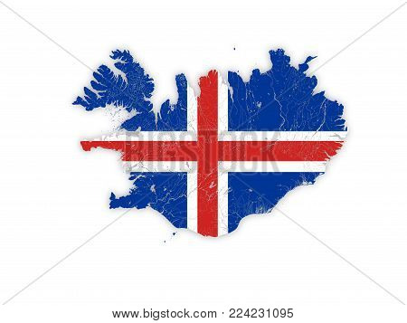 Map of Iceland with rivers and lakes in colors of the national flags. Please look at my other images of cartographic series - they are all very detailed and carefully drawn by hand WITH RIVERS AND LAKES.