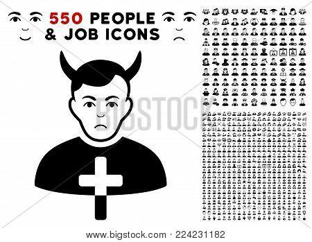 Sadly Satan Priest pictograph with 550 bonus pity and glad men symbols. Vector illustration style is flat black iconic symbols.