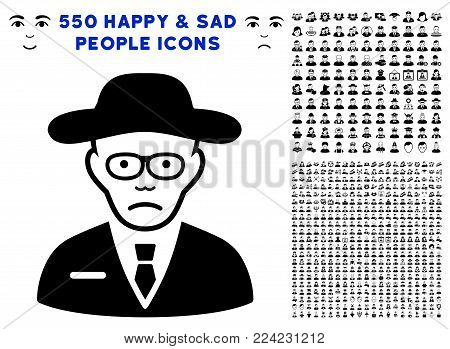 Dolor Scientist pictograph with 550 bonus pitiful and happy men pictograms. Vector illustration style is flat black iconic symbols.