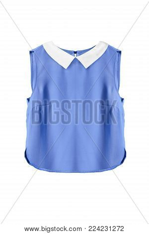 Blue silk sleeveless crop top with white collar on white background