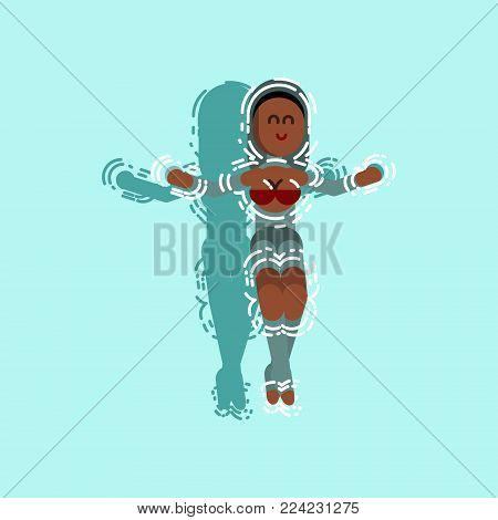 Afro american girl chilling in pool. Vector illustration, EPS 10