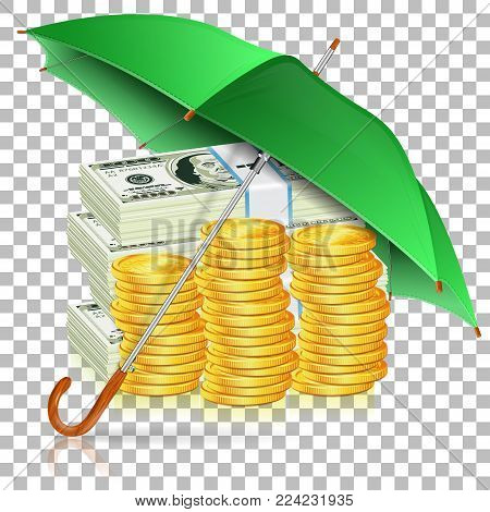 Monetary Stability, Success in Business and Protect against Inflation Concept. Umbrella protects Money. Isolated vector illustration on Transparent background