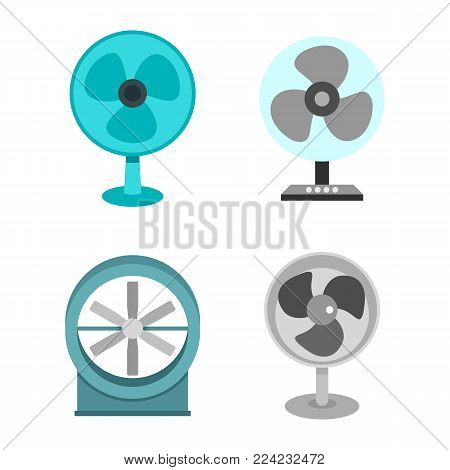 Home fan icon set. Flat set of home fan vector icons for web design isolated on white background