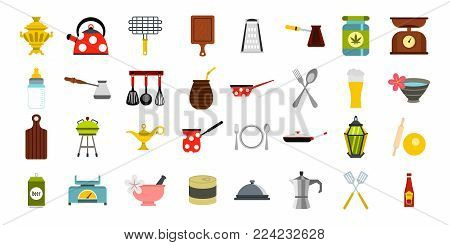 Dishes icon set. Flat set of dishes vector icons for web design isolated on white background