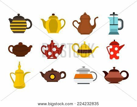 Teapot icon set. Flat set of teapot vector icons for web design isolated on white background