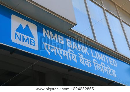 Kathmandu Nepal - November 12, 2017: Nmb Bank Sign. Nmb Bank Is One Of The Nepali Leading Commercial