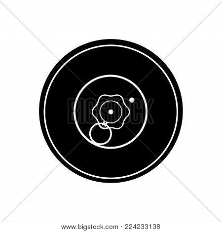 Black silhouette of anti-tank mine. Army explosive. Weapon icon. Military object. Vector illustration