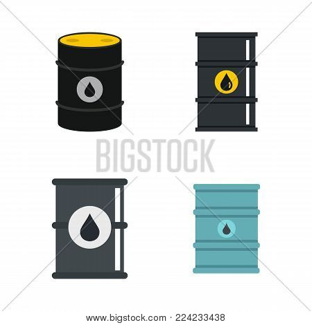 Oil barrel icon set. Flat set of oil barrel vector icons for web design isolated on white background