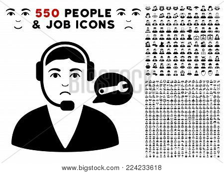 Dolor Support Center Operator icon with 550 bonus pitiful and happy jobs graphic icons. Vector illustration style is flat black iconic symbols.