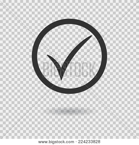 Check mark icon. Vector checkmark button with circle. Tick symbol. Illustration with shadow on transparent background.