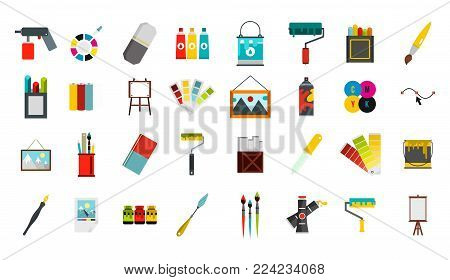Painter tools icon set. Flat set of painter tools vector icons for web design isolated on white background
