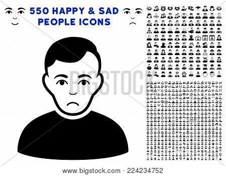 Dolor User icon with 550 bonus pitiful and happy user pictograms. Vector illustration style is flat black iconic symbols.