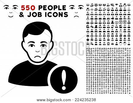 Pitiful User Danger pictograph with 550 bonus pity and happy people symbols. Vector illustration style is flat black iconic symbols.