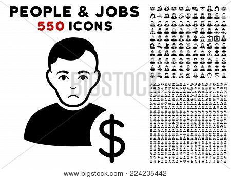 Dolor User Dollar pictograph with 550 bonus sad and happy user pictograms. Vector illustration style is flat black iconic symbols.