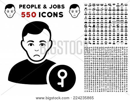 Dolor User Key pictograph with 550 bonus pitiful and happy people clip art. Vector illustration style is flat black iconic symbols.