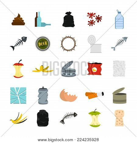 Garbage icon set. Flat set of garbage vector icons for web design isolated on white background