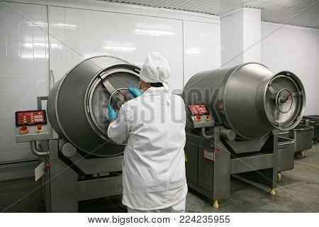 Mozyr, Belarus - September 22, 2011: The Meat Processing Plant. Processing Of Pork And Beef. Machine