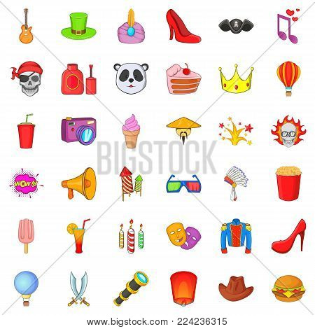 Masked ball icons set. Cartoon set of 36 masked ball vector icons for web isolated on white background