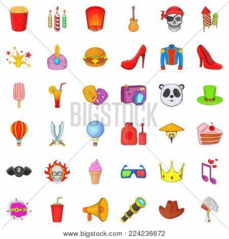 Costume ball icons set. Cartoon set of 36 costume ball vector icons for web isolated on white background