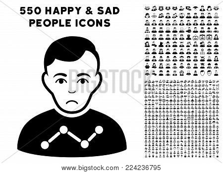 Sadly User Stats icon with 550 bonus pity and glad people graphic icons. Vector illustration style is flat black iconic symbols.