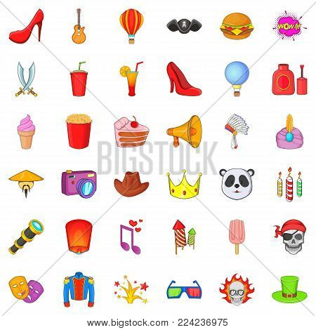 Costume fun icons set. Cartoon set of 36 costume fun vector icons for web isolated on white background