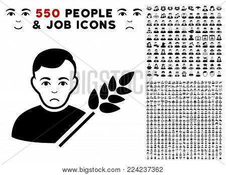 Pitiful Wheat Farmer icon with 550 bonus pity and happy user symbols. Vector illustration style is flat black iconic symbols.