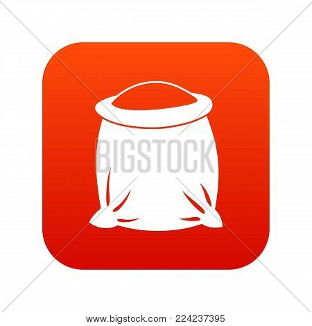 Sack full of flour icon digital red for any design isolated on white vector illustration