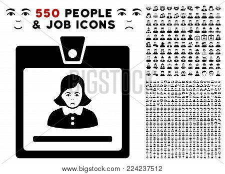 Sad Woman Badge pictograph with 550 bonus sad and happy jobs pictures. Vector illustration style is flat black iconic symbols.
