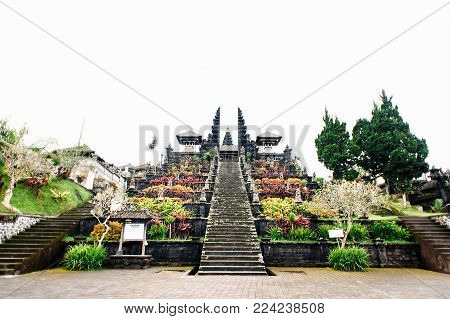 Main entrance in Pura Penataran Agung Besakih complex, the mother temple of Bali Island, Indonesia. Travel and architecture background