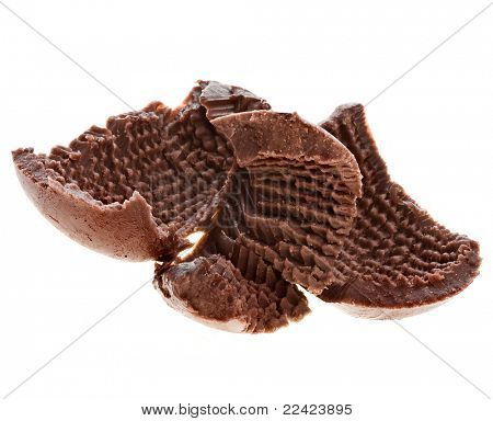 chocolate curls  isolated on a white