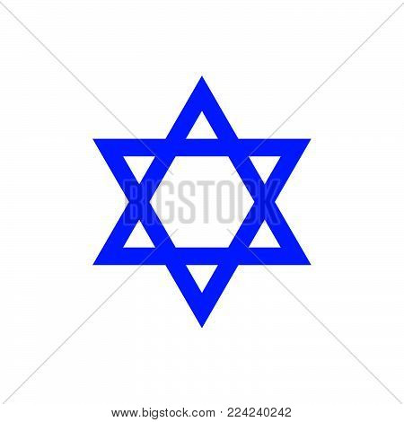 Vector abstract cute Star of David icon .isolated on a white background