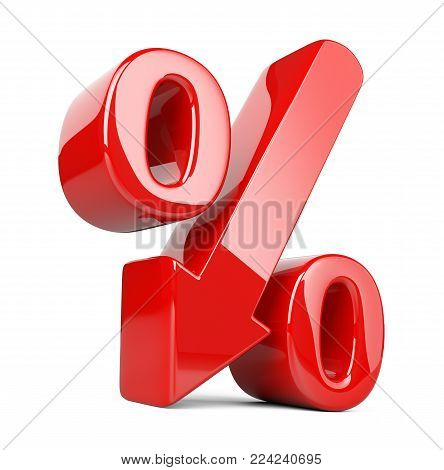 Shiny and glossy percent symbol with arrow down. Сoncept of the decline of the crisis and stagnation in development. 3d illustration isolated over white background