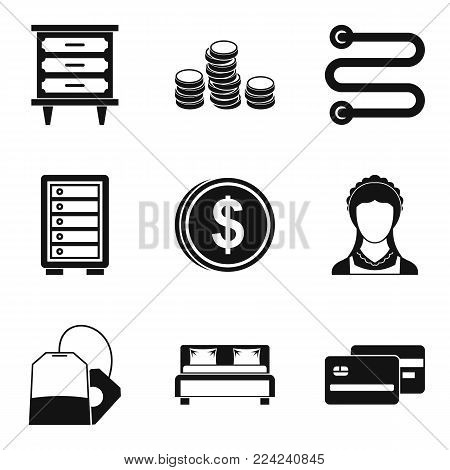 Coaching inn icons set. Simple set of 9 coaching inn vector icons for web isolated on white background