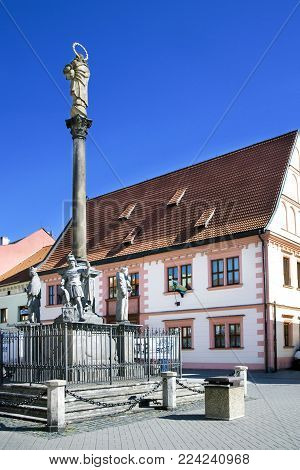 CZECH REPUBLIC, SOKOLOV - SEPT 22, 2015: historical center withtown hall  in town Sokolov, West Bohemia, Czech republic. Protected town preserve.