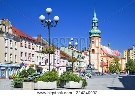 CZECH REPUBLIC, SOKOLOV - SEPT 22, 2015: historical center with st Jacob church in town Sokolov, West Bohemia, Czech republic. Protected town preserve.