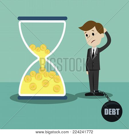 Time is money. Money in sandglass. Businessman lose his money losing time.