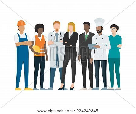 Different Professional Workers Standing Together During Labor Day