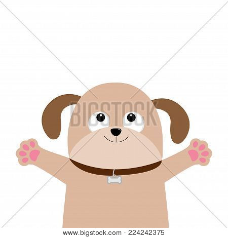 poster of Dog puppy face. Pet collection. Pooch looking up, hands paw print hug. Flat design. Cute cartoon funny character. White background. Isolated. Vector illustration