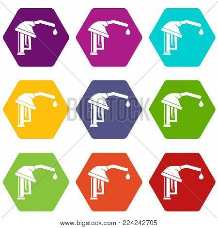 Gasoline pump nozzle icon set many color hexahedron isolated on white vector illustration