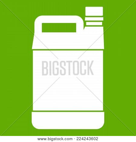 Jerrycan icon white isolated on green background. Vector illustration