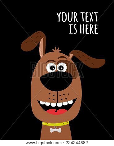 Dog head with text. Cute dog card with bone charm on collar vector illustration