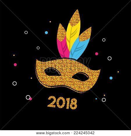 Carnival poster with glitter mask . Festival concept design. vector illustration