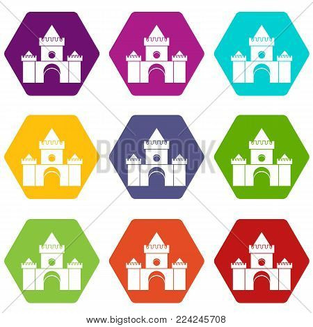 Fairytale castle icon set many color hexahedron isolated on white vector illustration
