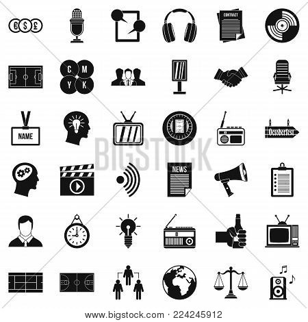 Multimedia means icons set. Simple set of 36 multimedia means vector icons for web isolated on white background