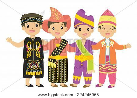 Indonesian children wearing traditional dress cartoon vector. Dayak, Nusa Tenggara Timur, Padang, and South Kalimantan traditional dress